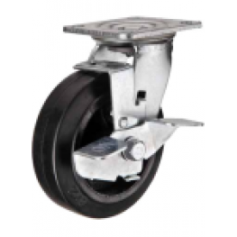 Серия 912 - поворотные колеса, литая черная резина, чугун, тормоз